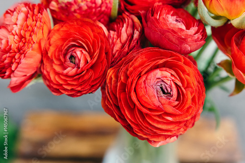 Fotomural Bouquet of red ranunculus flowers on a rustic background