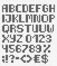 Handmade English Font With Num...
