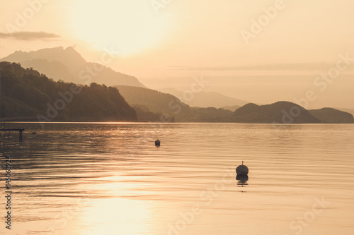 Deurstickers Toscane Swiss lake at sunset in Interlaken, Switzerland