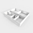 3d rendering of empty white paper model home apartment