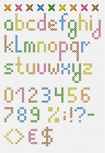 Colorful Cross Stitch Lowercase English Alphabet With Numbers And Symbols. Isolated On White Cloth Texture