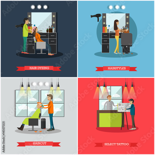 Photo Vector set of hairdressing salon and tattoo parlor flat posters