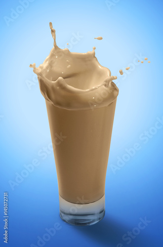 Foto op Aluminium Milkshake Splash of Chocolate Milkshake in A Glass