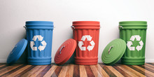 Recycle Trash Bins On Wooden F...