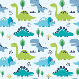 Fototapeta Dinusie - Vector illustration seamless pattern with Dinosaurs
