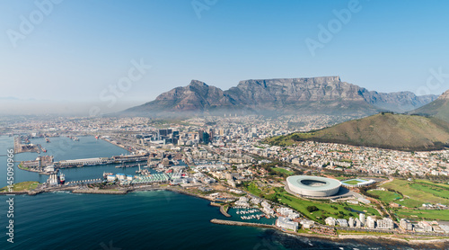 Valokuvatapetti Cape Town (aerial view from a helicopter) with the stadium in the focus