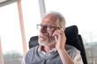 Portrait of bearded senior businessman talking on mobile phone, hard light