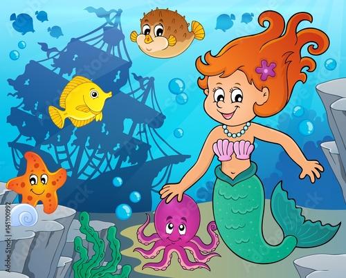Aluminium Prints Submarine Mermaid topic image 4