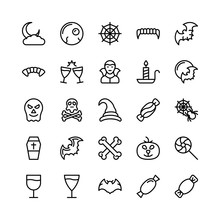 Christmas, Halloween, Party And Celebration Line Vector Icons 21