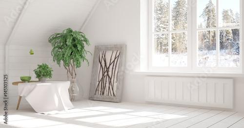 Aluminium Prints Bonsai White empty room with winter landscape in window. Scandinavian interior design. 3D illustration