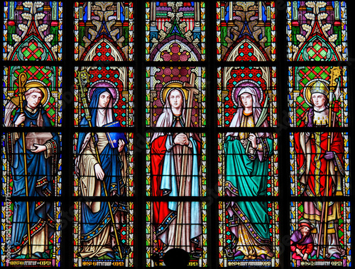 Fotografie, Obraz  Stained Glass in Brussels Sablon Church - Catholic Saints
