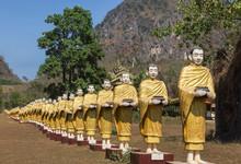 Many Buddha Statues Standing In Row At Tai Ta Ya Monastery Temple In Payathonzu District, Myanmar (Burma)