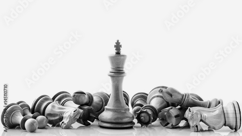 Fotografie, Obraz  Black and White King and Knight of chess setup on dark background