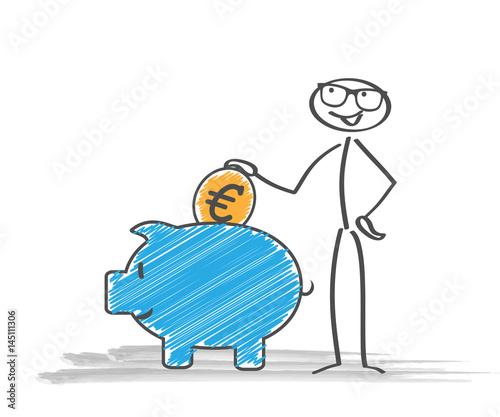Sparschwein Strichmännchen Euro Münze Kaufen Sie Diese
