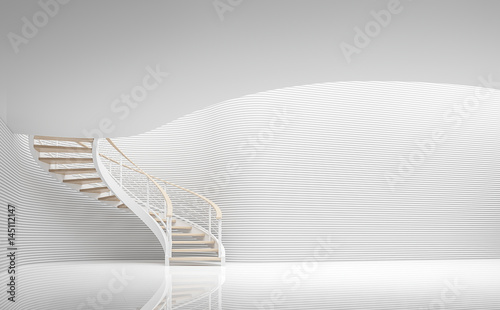 Valokuva  Empty white room modern space and spiral stair 3d rendering image