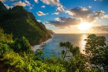 Sunset At Hawaii Kauai Napali Coast Kalalau Trail