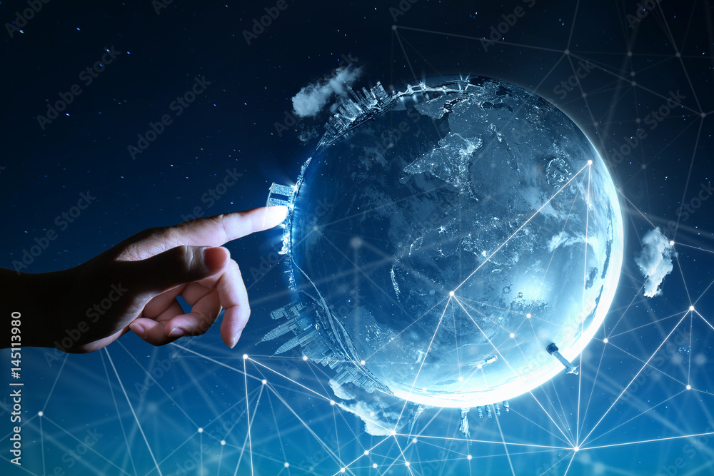 Fototapety, obrazy: Man touching Abstract global with wireless communication network on space background , abstract image visual, internet of things