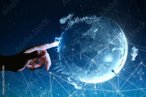 Fotografia  Man touching Abstract global with wireless communication network on space backgr