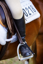 Close Up Of Riders Leg/boot In Stirrup