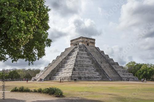 In de dag Mexico ancient site of Chichen itza in Yukatan region of Mexico