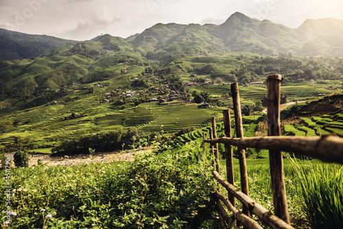 Keuken foto achterwand Asia land Landscape about terraced rice field in Sapa.