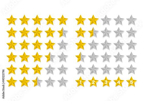 Fotografie, Obraz  星 五つ星 ランキング アイコン セット