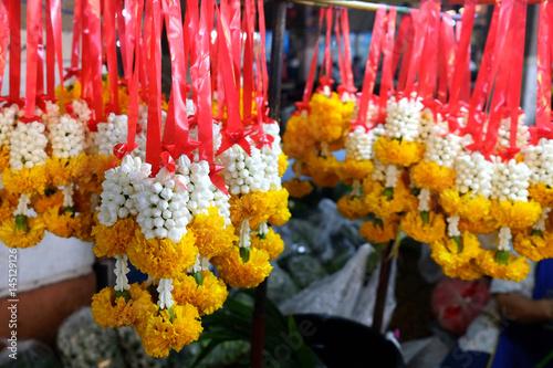 Thai garlands in the market Canvas Print