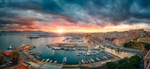 Cagliari, Italy 20/04/2017; Panoramic View Of Cagliari At Sunset On The Harbor