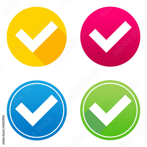 Validation flat icon in 4 different colors and versions, with or without long shadows Canvas Print