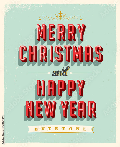 vintage greeting card merry christmas and happy new year everyone vector eps10 grunge