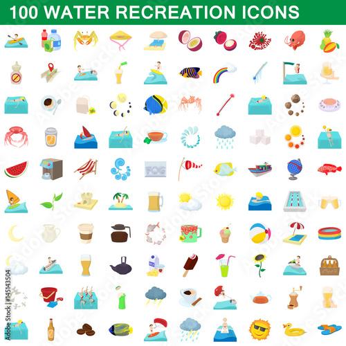Photo 100 water recreation icons set, cartoon style