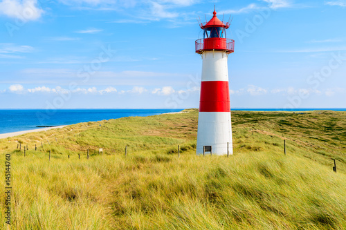 Poster Cote Ellenbogen lighthouse on sand dune and beach view on northern coast of Sylt island, Germany