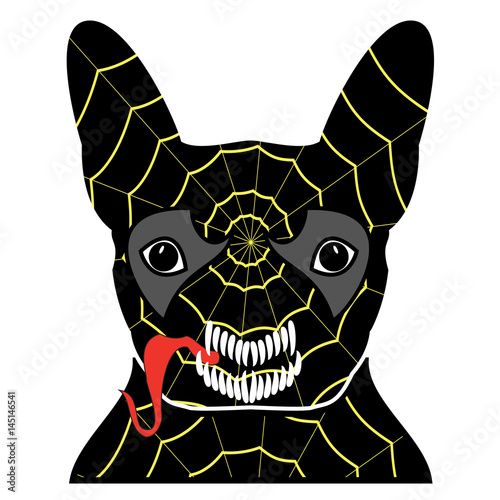 Valokuva  Villain symbol in costume with a spider web, with teeth and sticking out tongue,