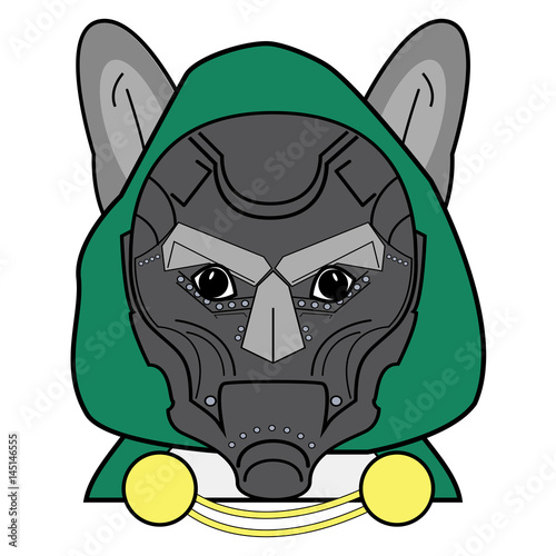 Villain symbol with hood, metal mask  and cape  witch chains , in green, yellow, Fototapet