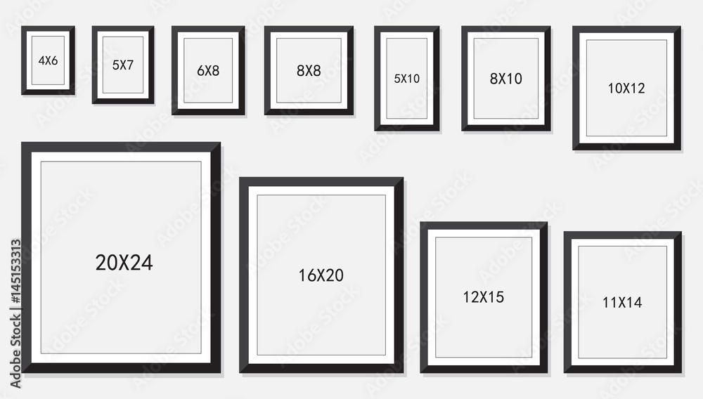 Fototapety, obrazy: photo and picture frame size isolated on white background, vector illustration