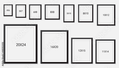 photo and picture frame size isolated on white background, vector illustration Tablou Canvas