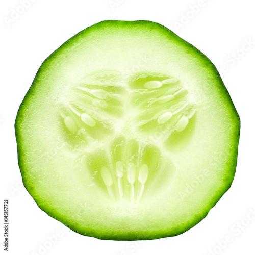In de dag Verse groenten fresh juicy slice cucumber on a white background, isolated