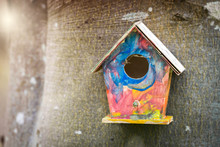 Colorful Bird House In Childish Colors