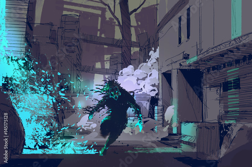 Foto op Aluminium Grandfailure sci-fi concept of the futuristic beast running from blue light particles in city alley, illustration digital painting