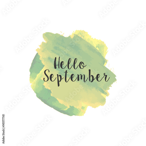 Hello September Watercolor Wallpaper Greeting Card Banner