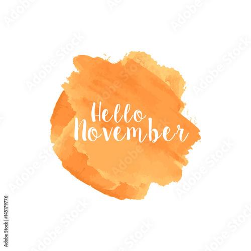 Hello November Watercolor Wallpaper Greeting Card Banner