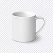 Realistic white coffee mug isolated on transparent background