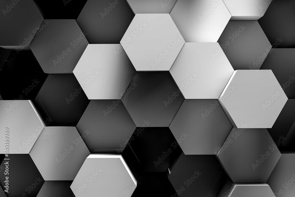 hexagon backgrounds 3d illustration