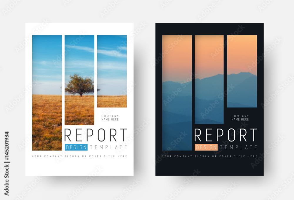 Fototapeta set of white and black report covers with a landscape and mountains in a minimalist style