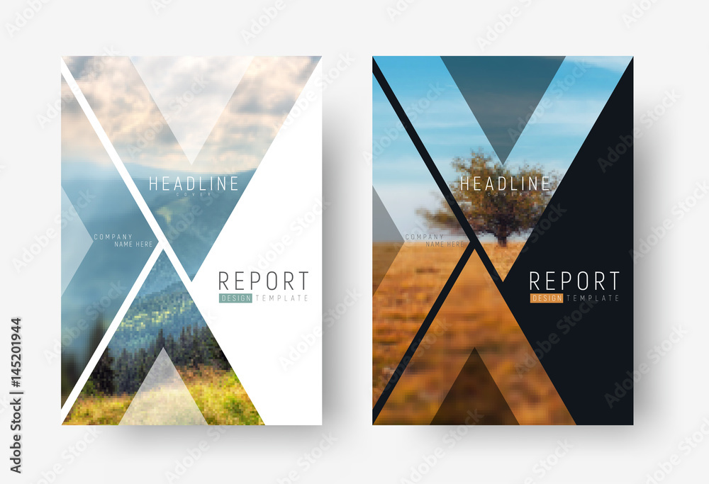 Fototapeta Cover template for a report in a minimalistic style with triangular design elements for a photo.