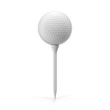 Golf Ball On Tee, Isolated On White. 3D Illustration