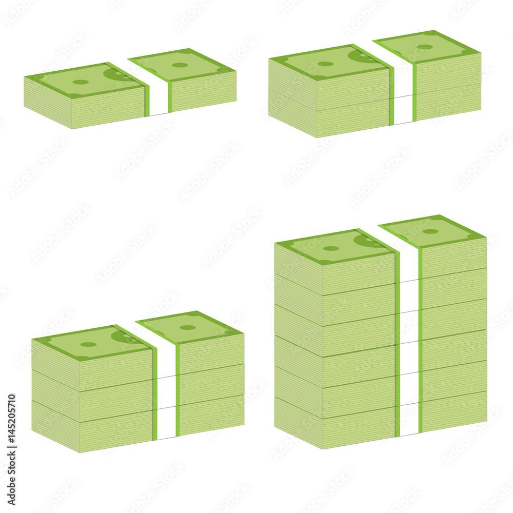 Fototapety, obrazy: money stack sign. money stack on white background.