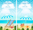 Set of summer vacation seascapes vertical banners vector illustration