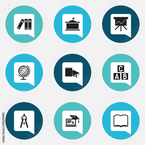 set of 9 editable education icons includes symbols such as math