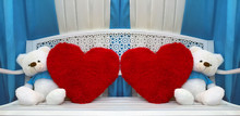 Two Teddy With Red Heart Pillow